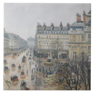Place du Theatre Francais, París: Lluvia, 1898 Azulejo Cuadrado Grande