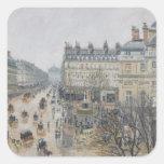 Place du Theatre Francais, París: Lluvia, 1898 Pegatina Cuadrada