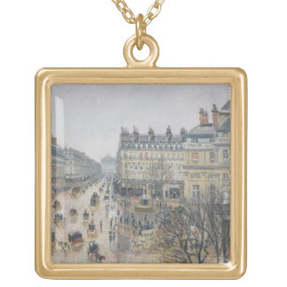 Place du Theatre Francais, Paris: Rain, 1898 Gold Plated Necklace