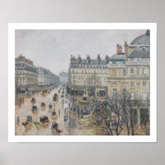 Place du Theatre Francais, Paris: Rain, 1898 Poster