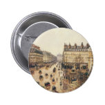 Place du Theatre Francais, Paris: Rain by Pissarro Pinback Buttons