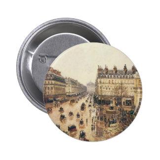 Place du Theatre Francais, Paris: Rain by Pissarro 2 Inch Round Button