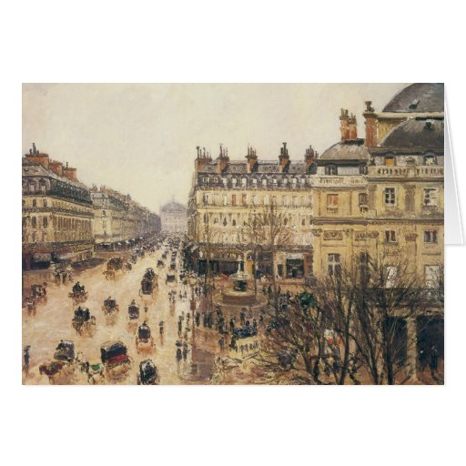 Place du Theatre Francais, Paris Rain by Pissarro Card