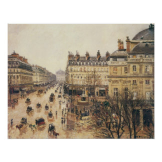 Place du Theatre Francais, Paris: Rain by Pissarro Poster