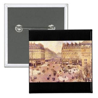 Place du Theatre Francais, Soleil by Pissaro Pinback Button