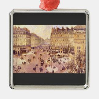 Place du Theatre Francais, Soleil by Pissaro Square Metal Christmas Ornament