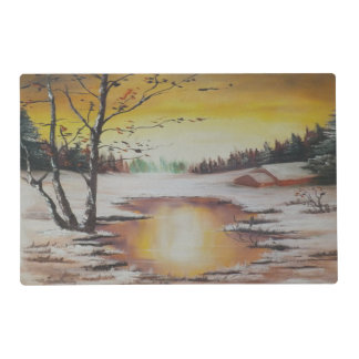 Place Mat Ann Hayes Painting Winter Scene
