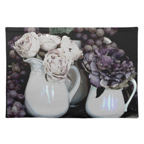 Place Mat - Pitcher, Grapes and Flowers