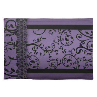 Place Mats Purple Blend Leaf Scroll Pattern