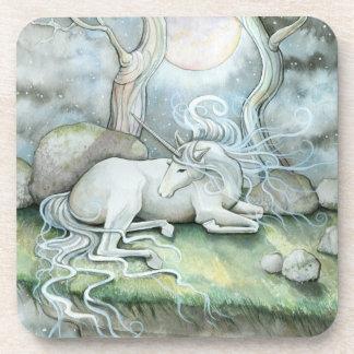 Place of Peace Watercolor Art Unicorn Fantasy Beverage Coasters