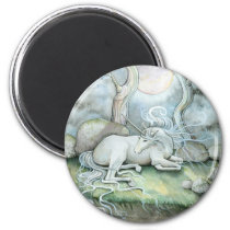 Place of Peace Watercolor Art Unicorn Fantasy Magnet