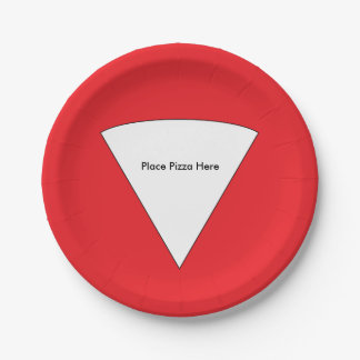 """Place Pizza Here"" Paper Plates 7 Inch Paper Plate"