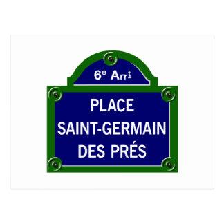Place Saint-Germain des Pres, Paris Street Sign Postcard