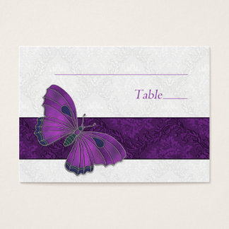 Place setting card Butterfly Brocade Purple