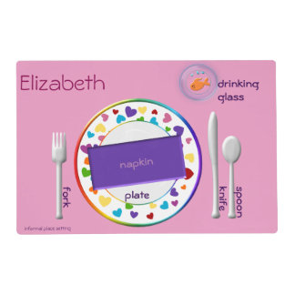 Place Setting for Girls Informal and Semi Formal Laminated Place Mat
