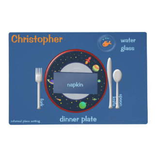 Place Setting Guide For Kids 2nd Space Theme Placemat