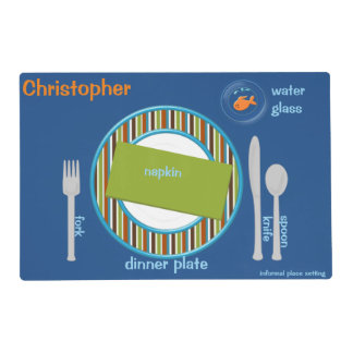 Place Setting Guide For Kids Green Stripes Placemat