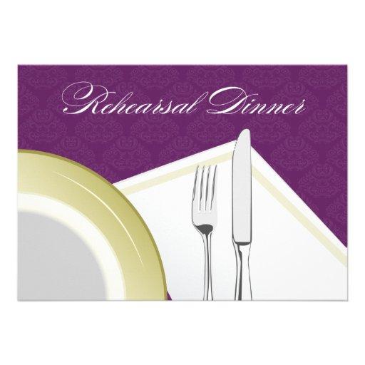 Place Setting Rehearsal Dinner Invitation (purple)