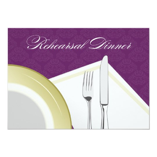 Place Setting Rehearsal Dinner Invitation (purple)