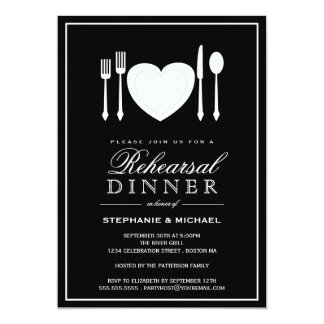 """Place Setting Rehearsal Dinner Party Invitation 5"""" X 7"""" Invitation Card"""