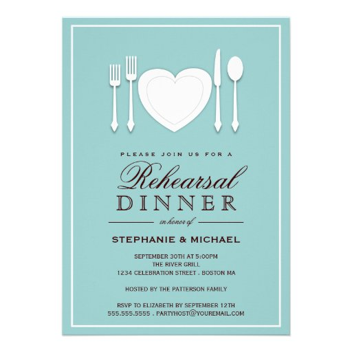 "Place Setting Rehearsal Dinner Party Invitation 5"" X 7 ..."