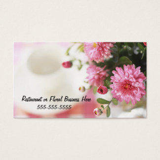 Place Setting with Beautiful Pink Mums Business Card