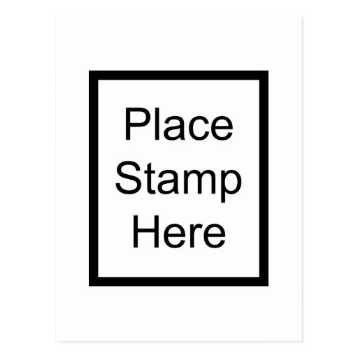 Place Stamp Here Postcard Zazzle