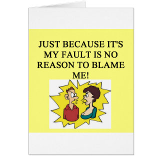 place the blame proverb greeting card