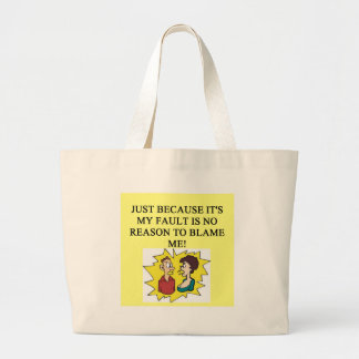 place the blame proverb jumbo tote bag