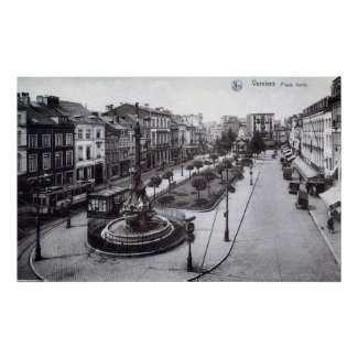 Place Verte Verviers Belgium 1920s Vintage print
