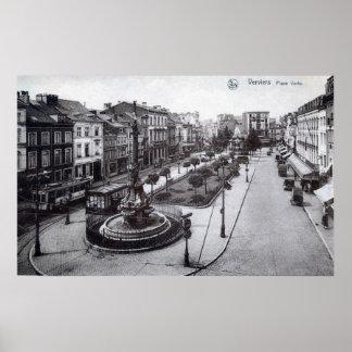 Place Verte Verviers Belgium 1920s Vintage Poster