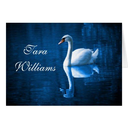Placecard blanco del nombre de la tabla del cisne tarjeta pequeña