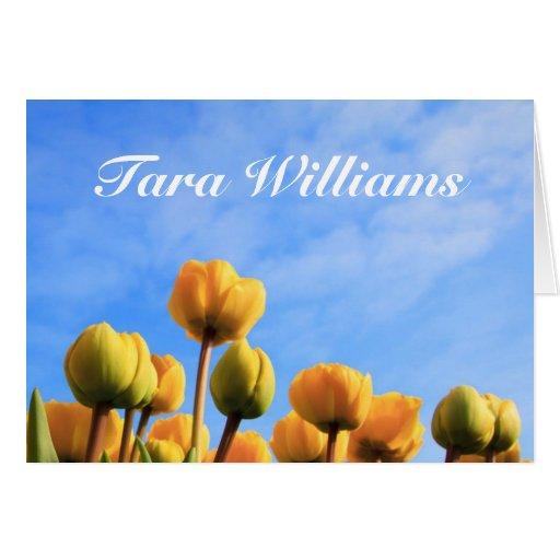 Placecard del nombre de la tabla del tulipán tarjeton
