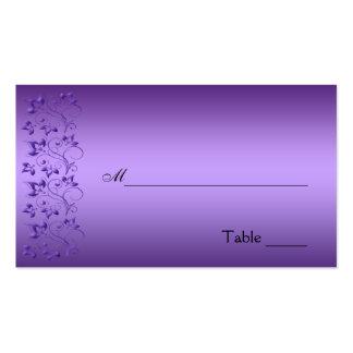 Placecard floral púrpura y negro tarjetas de visita