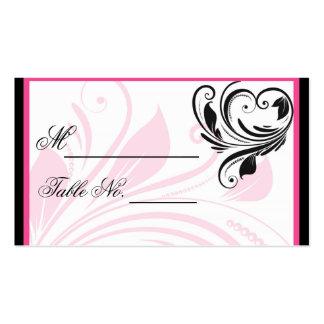 PlaceCard que se casa floral rosado negro y oscuro Tarjetas De Visita
