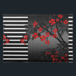 "Placemat Asian Black White Red Bamboo Blossom<br><div class=""desc"">Asian Black White Red Bamboo Blossom American MoJo Placemat Zizzago</div>"