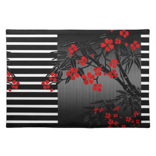 Placemat Asian Black White Red Bamboo Blossom at Zazzle