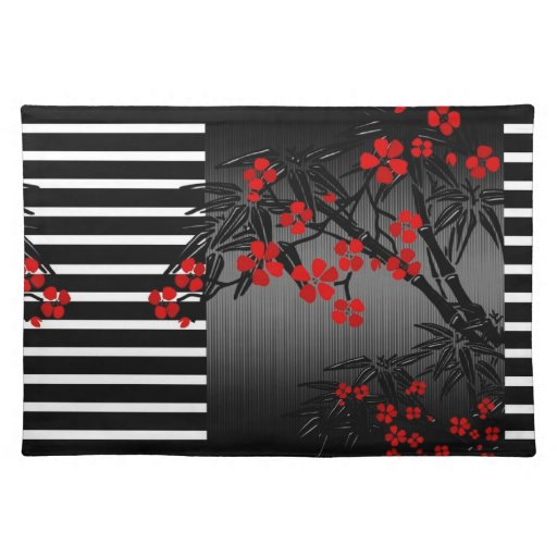 Placemat Asian Black White Red Bamboo Blossom Cloth