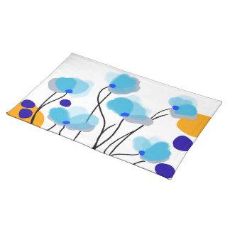 Placemat azul del paisaje de las flores manteles individuales