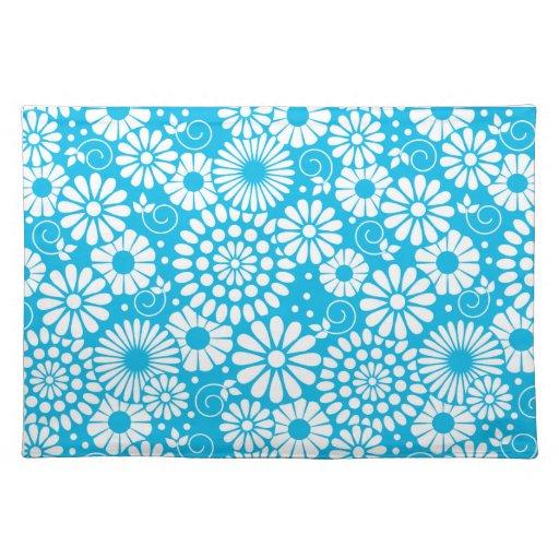 Placemat azul floral del vintage manteles