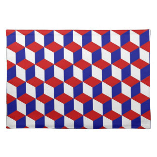 Placemat - Block illusion in Red, White, and Blue Cloth Placemat