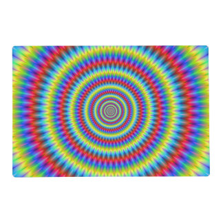 Placemat   Blue Red Yellow and Green Toothed Rings Laminated Placemat