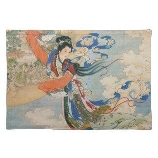 Placemat chino del paño de la diosa de la luna mantel individual