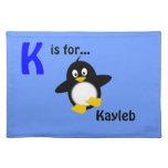 Placemat conocido personalizado - diseño del pingü mantel
