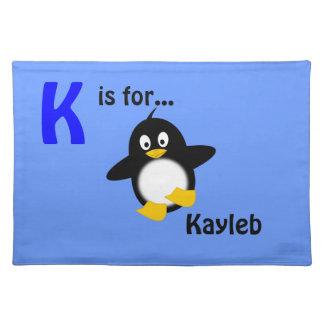 Placemat conocido personalizado - diseño del pingü manteles