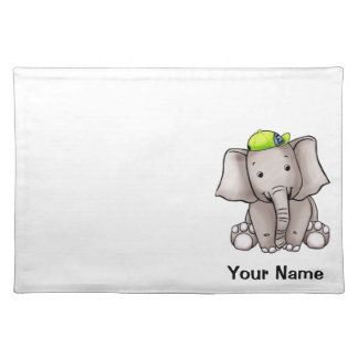 Placemat, Cute Elephant Cartoon, Name Template Placemat