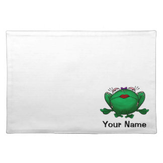 Placemat, Cute Frog Cartoon, Name Template Cloth Placemat