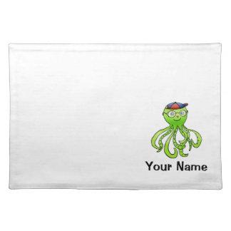Placemat, Cute Octopus Cartoon, Name Template Cloth Placemat