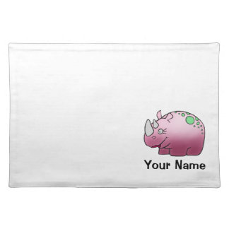 Placemat, Cute Rhinoceros Cartoon, Name Template Placemat