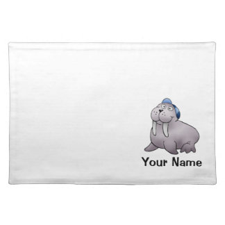 Placemat, Cute Walrus Cartoon, Name Template Cloth Placemat